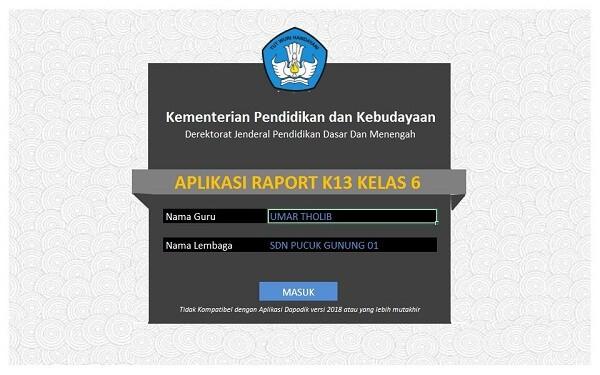 download aplikasi rapor k13 jenjang SD